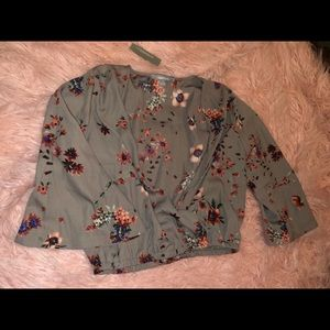 Gray Floral Blouse